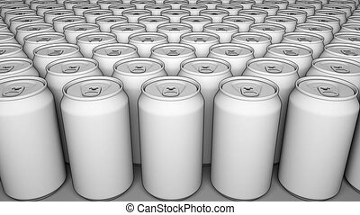 White cans. Soft drinks or beer production. Recycling packaging. 4K seamless loop dolly clip, cartoon animation