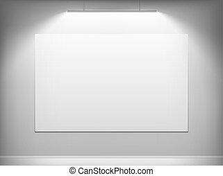 White canvas hanging on the wall.