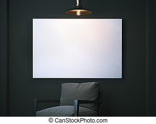White blank canvas on the dark wall in interior with lamp and chair. 3d rendering