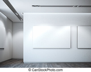 White canvas on a white wall. 3d rendering