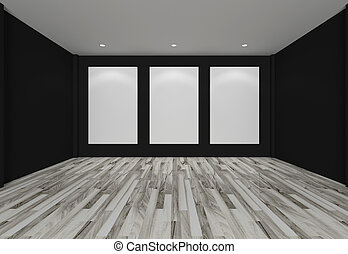white canvas on black wall in the gallery