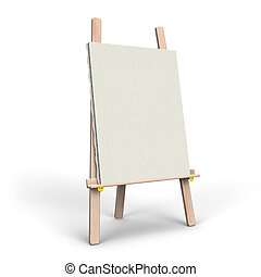White Canvas On Easel. 3D render illustration. Isolated on...
