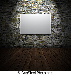 White canvas on stone wall - 3D render