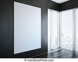 White canvas on wall in modern interior. 3d rendering