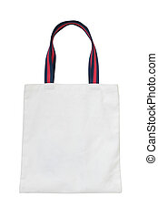 white canvas tote bag isolated on white background