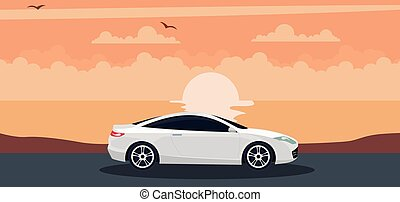 White car background on a sunset at the beach