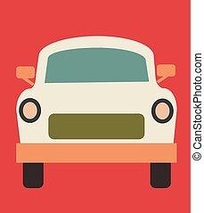 White car flat illustration on white