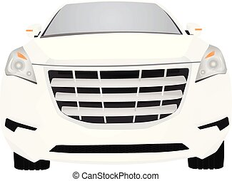 White car. front view. vector illustration
