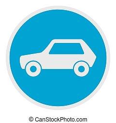 White car icon, flat style.