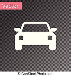 White Car icon isolated on transparent background. Vector Illustration