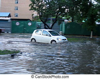 White car in a water - Small white car move at the water ...
