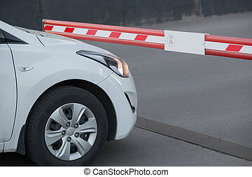 White car in front of the barrier.