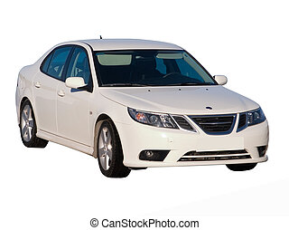 The modern car. Isolated on a white background for easy use.