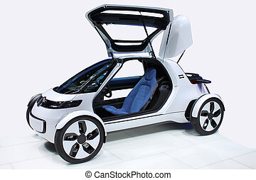 White car of the future with flying doors