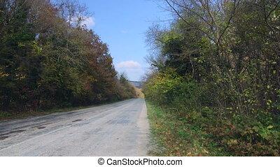 White car speeding down mountain road in autumn