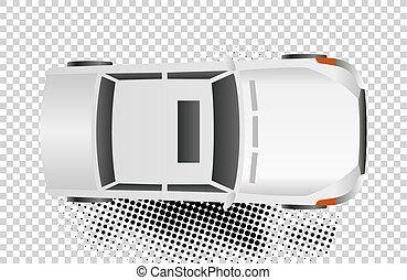 White car top view vector illustration. Flat design auto....