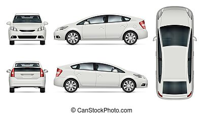White car vector mock-up for advertising, corporate identity. Isolated car template on white. Vehicle branding mockup. All layers and groups well organized for easy editing and recolor. View from five sides.