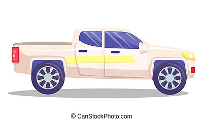 White car vector template on white background. American pickup isolated. Automobile side view