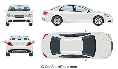 White car vector template. Vehicle branding mockup side, front, back, top view
