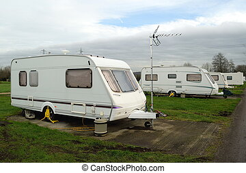 White caravans in the park