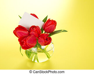 White card for the text and tulips in a vase