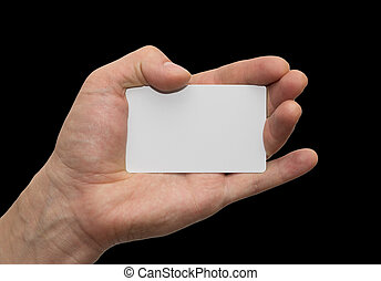 white card in hand on a black background