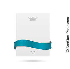 White card with blue ribbon and crown for your holiday