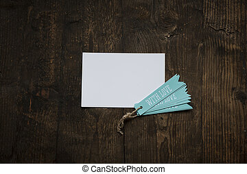 white card with blue tag love