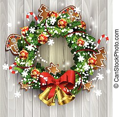 White card with Christmas wreath and bow