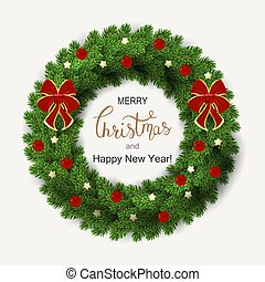 White card with Christmas wreath. Vector illustration.