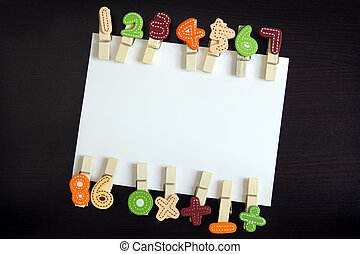 White card with clothespin