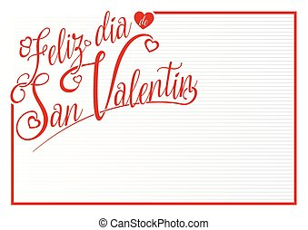 White card with red border with the message FELIZ DIA DE SAN VALENTIN - Happy Valentine's Day in Spanish language - in red letters