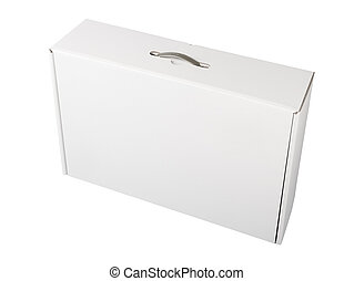 White cardboard box front view isolated on white background