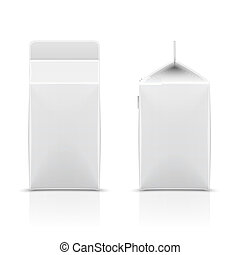 White half-liter cardboard package for diary products, juice or beverage. Packaging collection. Vector illustration.
