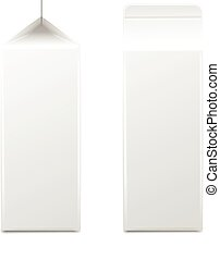 White cardboard package for diary products, juice or milk. Packaging collection. Vector illustration.