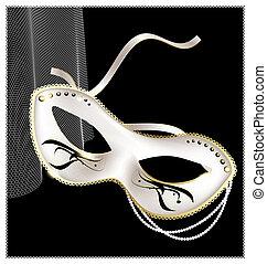 white carnival half- mask