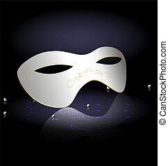 white carnival half-mask