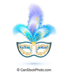 White carnival mask with blue feathers and golden glitter...