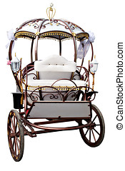 White carriage - White retro carriage decorated isolated...