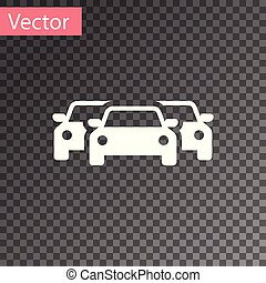 White Cars icon isolated on transparent background. Vector Illustration