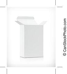 White carton box, illustration