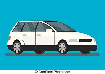 White cartoon car on blue background