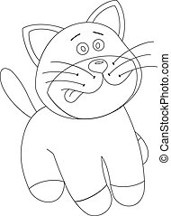 White cartoon cute kitten