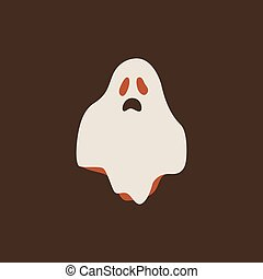 White Cartoon halloween ghost icon. Smiley and evil emotions