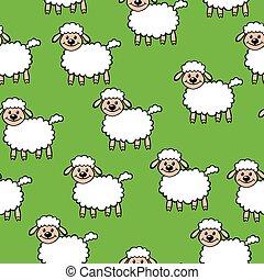 White cartoon sheep pattern seamless on green background