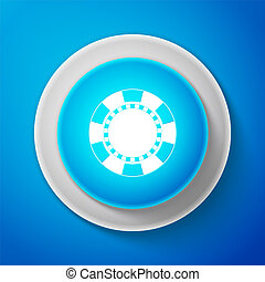 White Casino chip icon isolated on blue background. Circle blue button with white line. Vector illustration