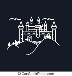 White Castle Hill on Black Background