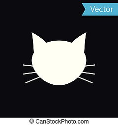 White Cat icon isolated on black background. Vector Illustration