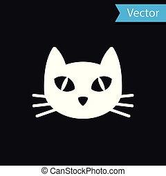 White Cat icon isolated on black background. Vector Illustration