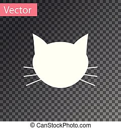 White Cat icon isolated on transparent background. Vector Illustration